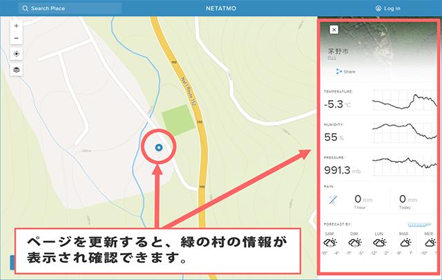 緑の村ウェザーマップ 情報画面